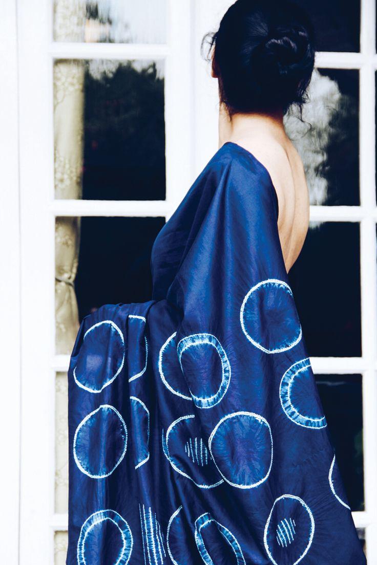 Natural Indigo dyed Shibori sari by Sayan Chanda