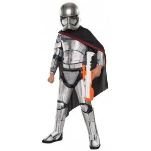 Captain Phasma Deluxe Star Wars: The Force Awakens Kids Costume Price: $64.00  Kids size Deluxe Captain Phasma costume comes with the printed and padded jumpsuit with attached boot tops cape belt and deluxe 2-piece mask.  Perfect for your favorite Star Wars fan for Halloween or cosplay. This deluxe version has sturdier fabrics and more detail for those wanting to wear it well beyond Halloween for costume play or cosplay.  Officially Licensed Star Wars Costume.  #cosplay #costumes #halloween
