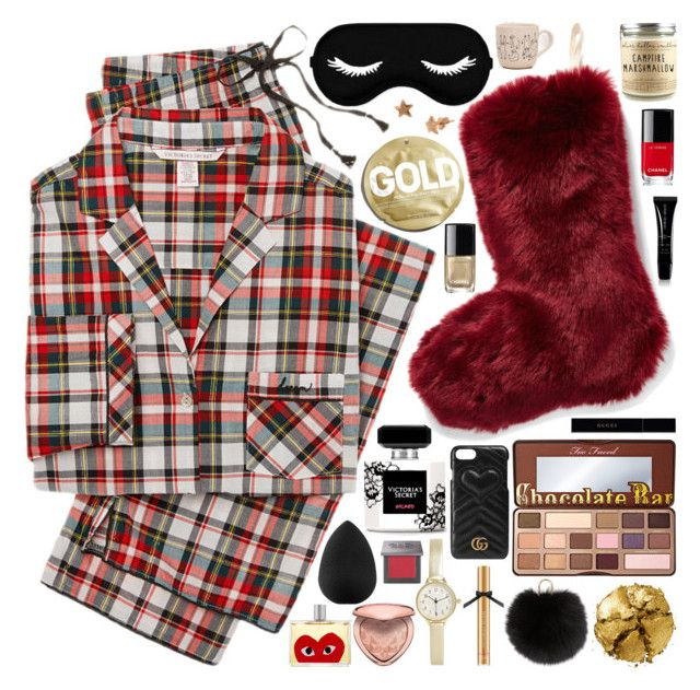 """#PolyPresents: Stocking Stuffers"" by douxlaur ❤ liked on Polyvore featuring Victoria's Secret, Nordstrom, beautyblender, Too Faced Cosmetics, Urban Outfitters, Chanel, BKE, Pat McGrath, Gucci and Yves Salomon"