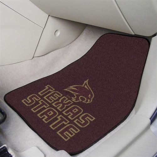 College car mats. This Texas State Bobcats auto mat set includes two front seat match with team logo. Mats are chrome jet printed, allowing full penetration of the color down the entire tuft of the hi