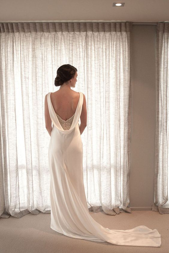 Top 25 best cowl wedding dress ideas on pinterest for Cowl back wedding dress