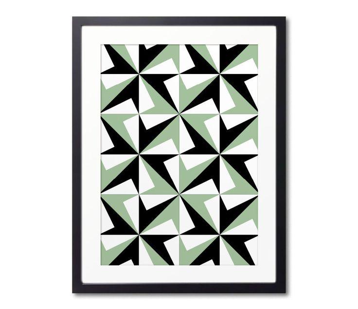 Geometric Wall Decor, Green And Black, Barcelona Tiles, Tile Design, Graphic Print, Home Decoration by Macrografiks on Etsy