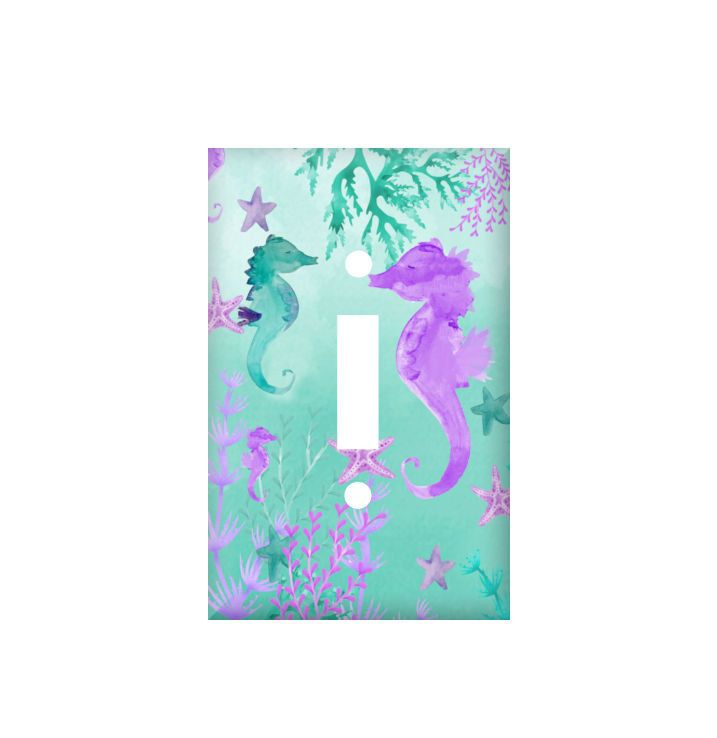 Seahorse light switch cover, teal purple switchplate, watercolor ocean rocker cover, electrical outlet mermaid, bathroom decor nursery theme by LilysNurseryShop on Etsy