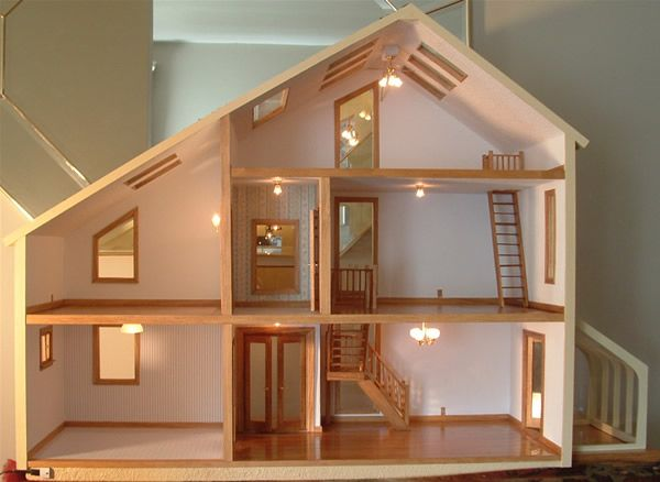 Gorgeous! Love the skylights! Contemporary style dollhouse