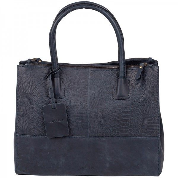 Leuke blauwe leren handtas, Burkely Filippa Anaconda Handtas 740866 Jeans. #blauw #blue #tas #bag #handbag #handtas