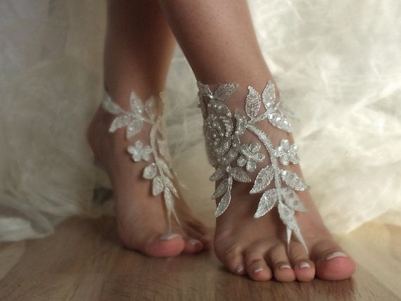 Just glorious! Beautiful and unusual!  Free ship ivory silver cord wedding barefoot by Weddngstore