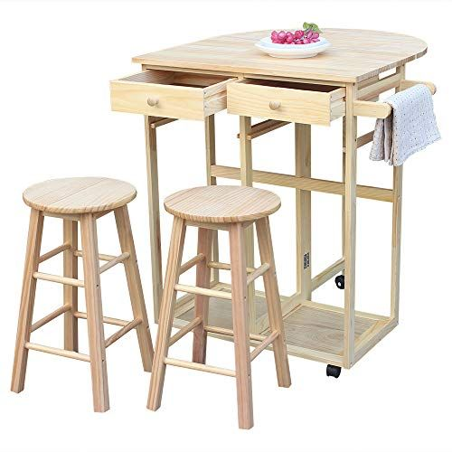 Kepooman Folding Dining Cart Semicircle Solid Wood Drop Leaf Breakfast Cart Dining Table S Kitchen Table With Storage Dining Room Table Set Wood Kitchen Island