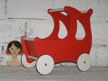 Ekologiczny drewniany wózek dla lalek +materacyk