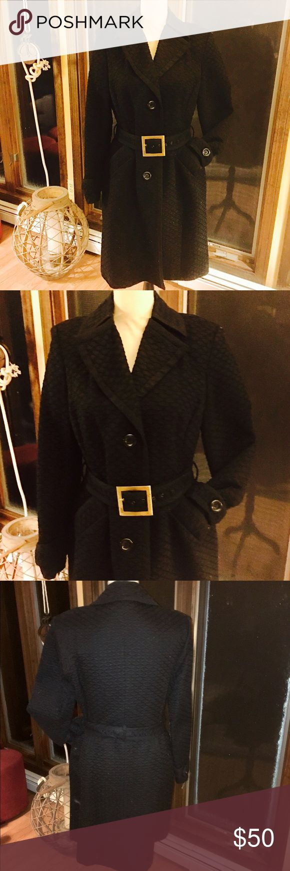 Ann Klein ll Black Twill Coat Beautify black twill lined belted coat by Ann Klein ll.  Great silhouette for that sophisticated occasion!  Great condition.... Ann Klein ll Jackets & Coats Trench Coats