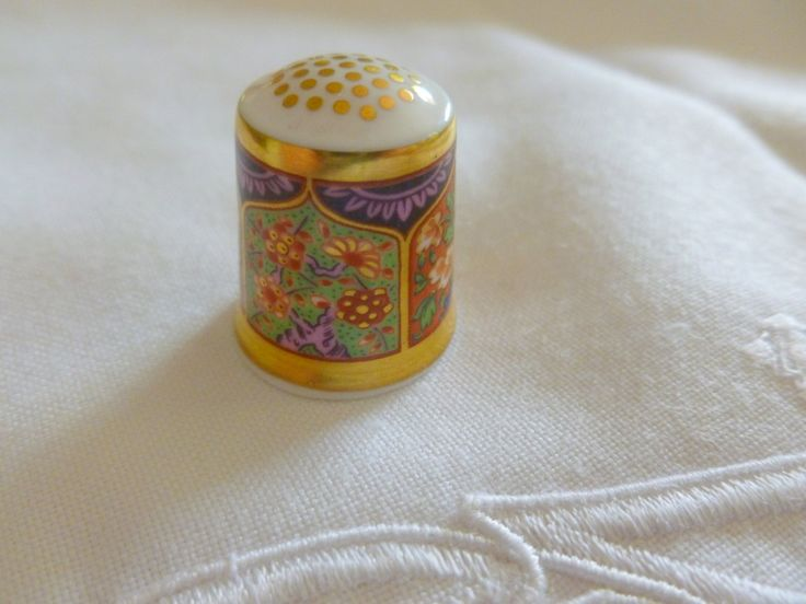 Vintage Royal Crown Derby Imari Thimble, Thimble with Gold Gilding, Vintage Imari Floral Thimble, Sewing Thimble by MuskRoseVintage on Etsy