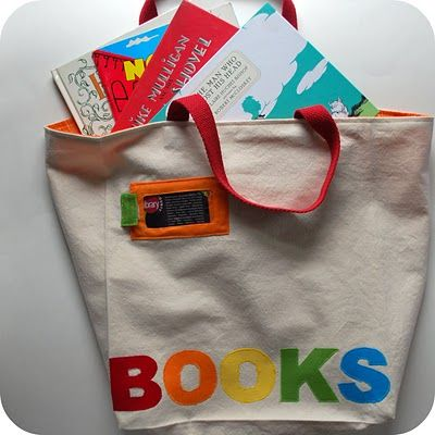 kid gift... library book bag.. with build in library card holder.. and fill with books... cute.