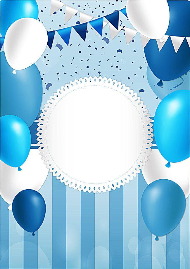 Blue Balloon Festival Poster Happy Birthday Blue Happy