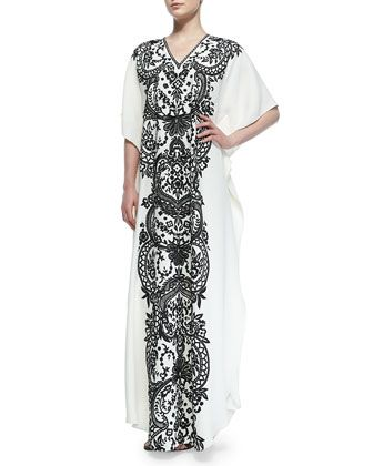 Short-Sleeve Embroidered Caftan by Naeem Khan at Bergdorf Goodman.