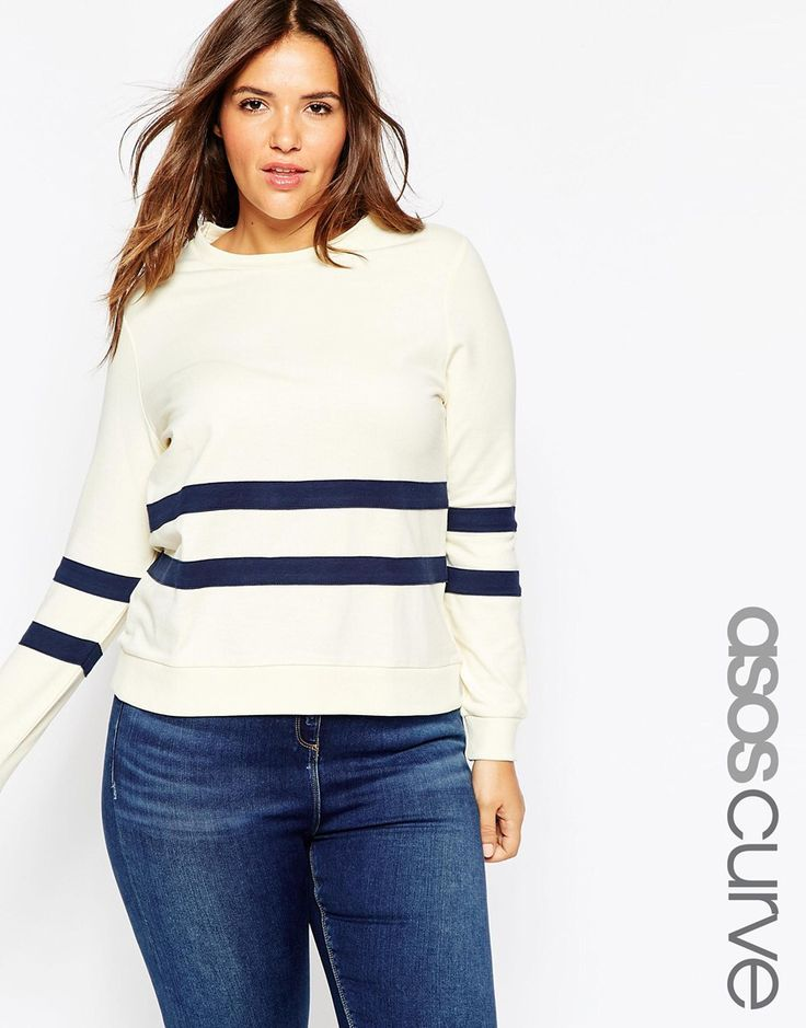 ae987d1a88b88 Plus-size top by ASOS CURVE Loop-back sweat Soft-touch finish Contrast  stripe Crew neckline Stretch cuffs and waistband Regular fit - true to size  Machine ...
