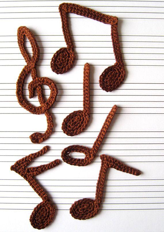 Notas musicales de ganchillo patrón Applique por GoldenLucyCrafts