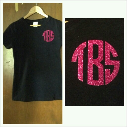 Monogrammed T Shirt Using Glitter Heat Transfer Vinyl