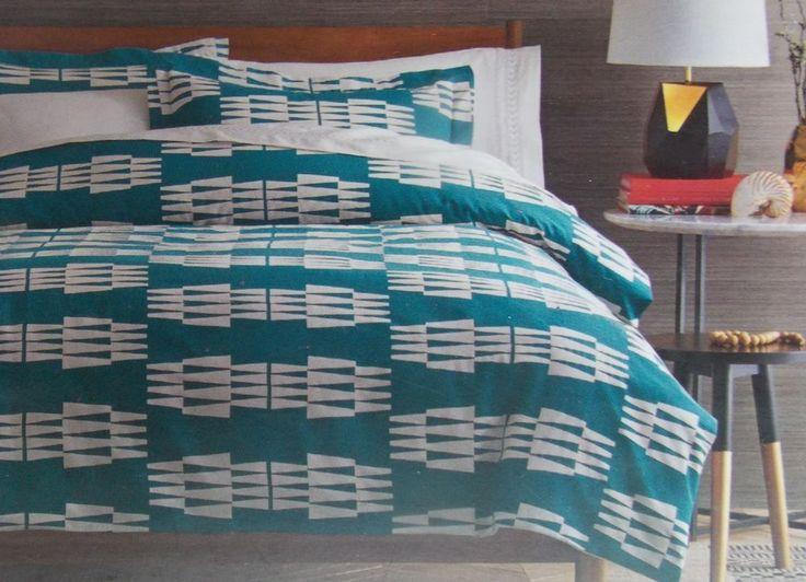 Nate Berkus Ogee Duvet Cover Shams Bed Set ~ NEW  Teal Ivory Print FULL/QUEEN #NateBerkus