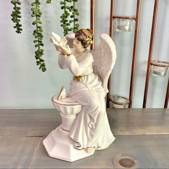 Vintage O Well Porcelain Angel Figurine Sundial Dove Decorative Collectible Angel Figurines Ceramic Angels Angel Collectibles
