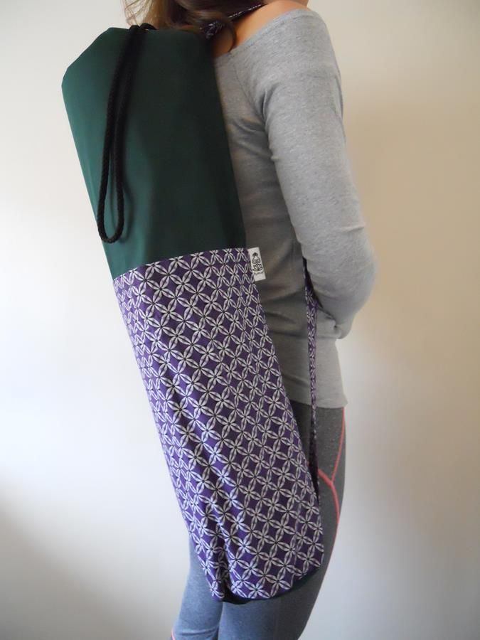 Shweshwe green and purple yoga bag