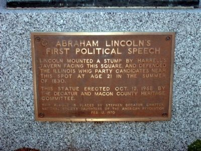 Abraham Lincoln's First Political Speech Marker. Click for full size.