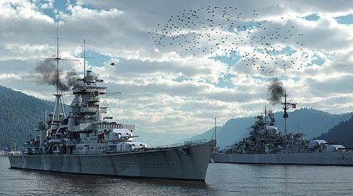 Battleship Bismark (r) and Heavy Cruiser Prinz Eugen. (War Art)