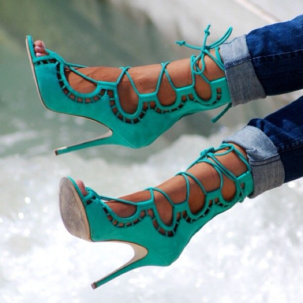 "Turquoise Blue Zanotti shoes...  Look like a Prince/Princess! Try SABA Health & Fitness    Products! Just go to: http://www.TexasTrim.net and Click on ""Get Started Now"""