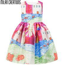 Vestido de las muchachas Del Invierno 2015 de la Marca Bebé Ropa de Las Muchachas Niños Vestidos Sin Mangas de la Pintura Europea de Los Niños Vestido de Princesa Costume 2-10Y(China (Mainland))