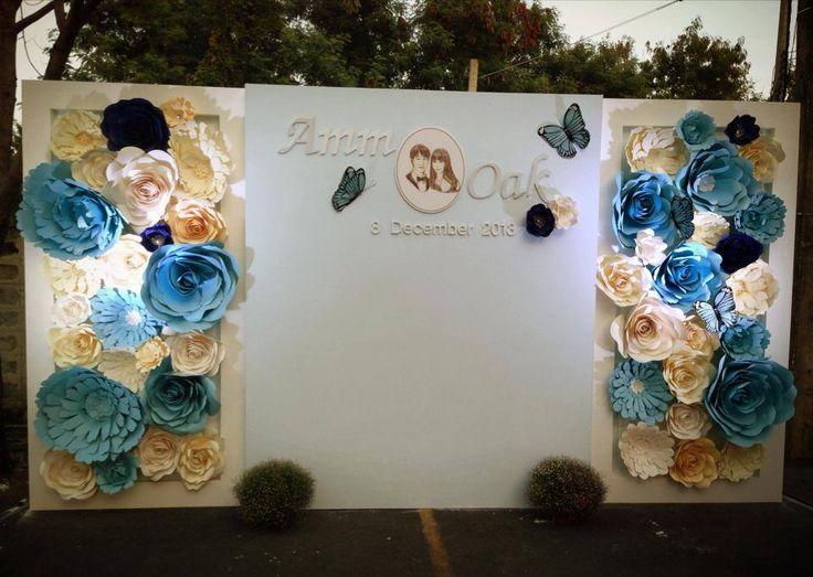 blue wedding paper backdrop