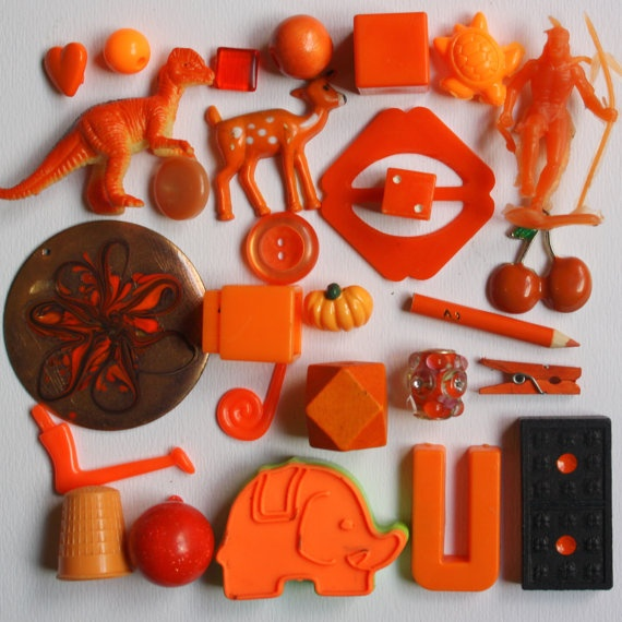 TheColourKitten on etsy - orange, assortment, collection, assemblage, supplies