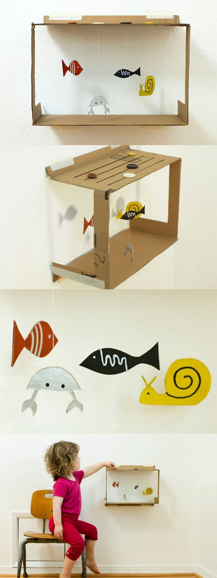 Diy fish tank- made from cardboard, buttons, paint and a little imagination- could switch this up a little and make a zoo or a farm.....whatever ur little one is into.