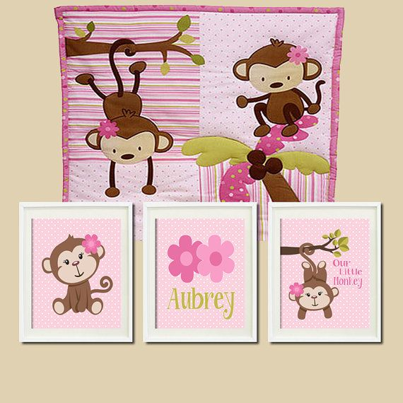 Hey, I found this really awesome Etsy listing at http://www.etsy.com/listing/174325397/girl-monkey-nursery-art-personalized