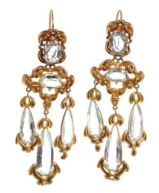 1830's repoussé aquamarine earrings in 18k gold.