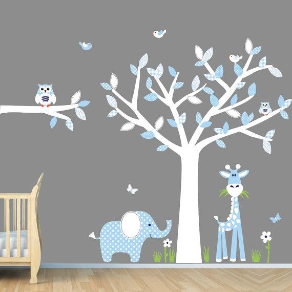 Baby Blue Nursery Wall Art Jungle Wall by NurseryDecalsNMore, $69.99