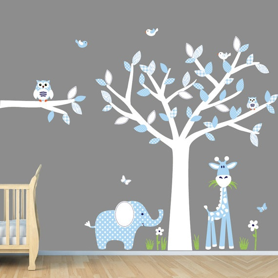 Baby blue nursery wall art jungle wall decals boy wall for Baby boy mural ideas