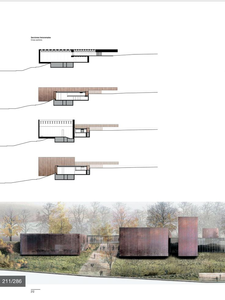 cross sections and visual. 'Blind' House presentation board