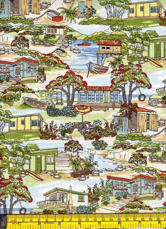 Retro Baches - Kiwiana - New Zealand Fabrics - Kiwiquilts