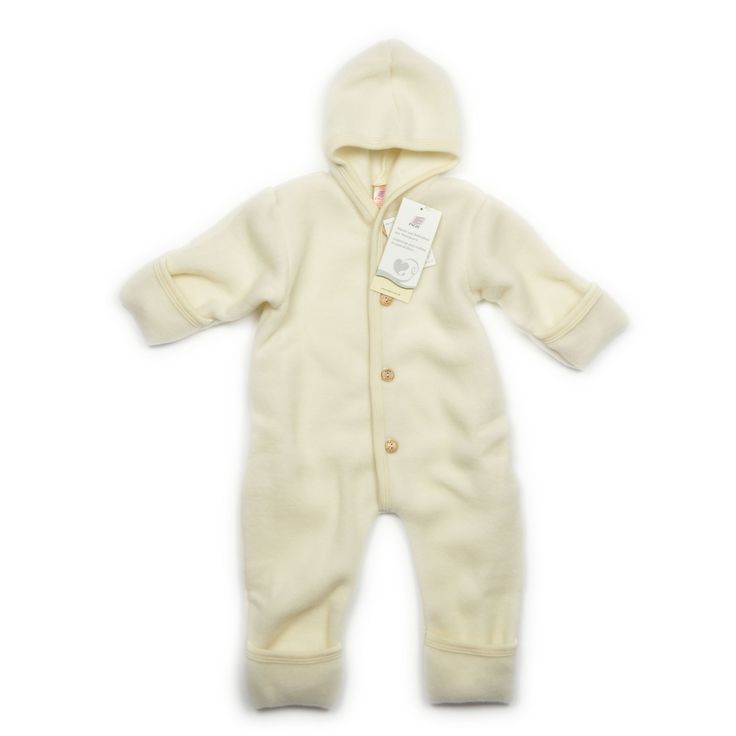 Lovely wool fleece suit with 2 in 1 closing for hands and feet. Great winter item. Organic wool.