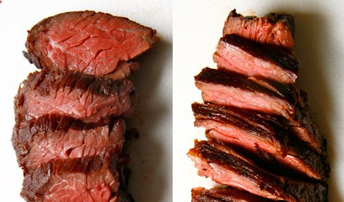 What cutting meat against the grain means. The most important lesson I have ever learned in the kitchen. Stir-fry, London Broil, Fajitas, or any other meat needs this! It's the difference between beautifully tender and tough as a rubber band.