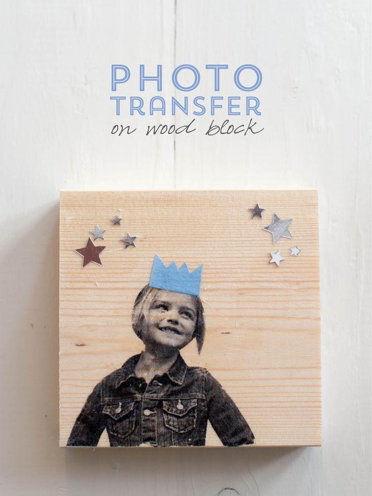 Photo transfer on wood block