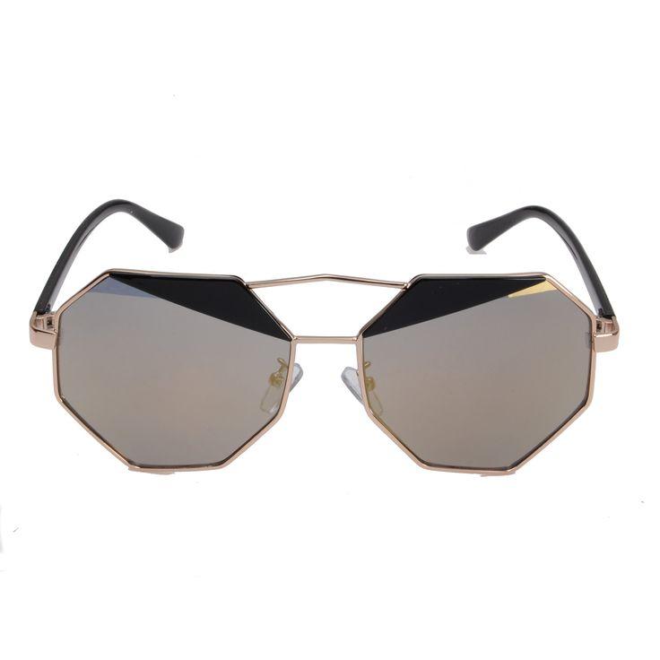 Eyewear World Lunettes de soleil d'aviateur en métal Unisexe - - Gold Metal Frame / Brown Lens, Standard Adult Size