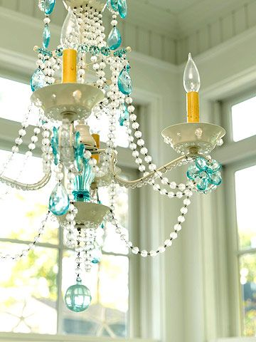 Seaglass chandy? Yes, please.Lights, Crystals Chand, Cottages Style, Dining Room, Dreams, Chandeliers, House, Seaglass, Sea Glasses