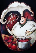 Bistro Fat Chef Kitchen Decor Bon Appetit Wall Plaques Signs