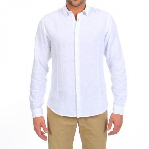 COTTON AND LINEN SHIRT Fleming linen and cotton shirt with long sleeves, pleats on front and back, a rounded hem. COMPOSITION: 52% LINEN 48% COTTON. Our model wears size L, he is 189 cm tall and weighs 86 Kg.