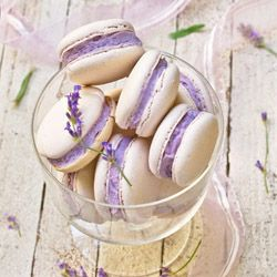 French Macarons filled with Lavender Buttercream and presented in a stemmed bowl