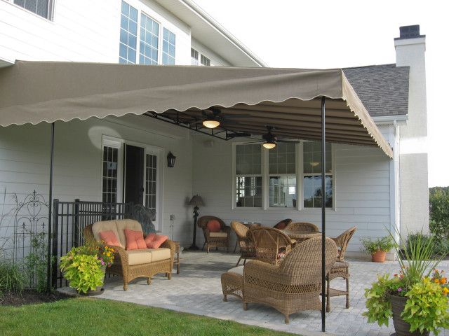 Custom Canvas Patio Canopy With Two Black Ceiling Fans