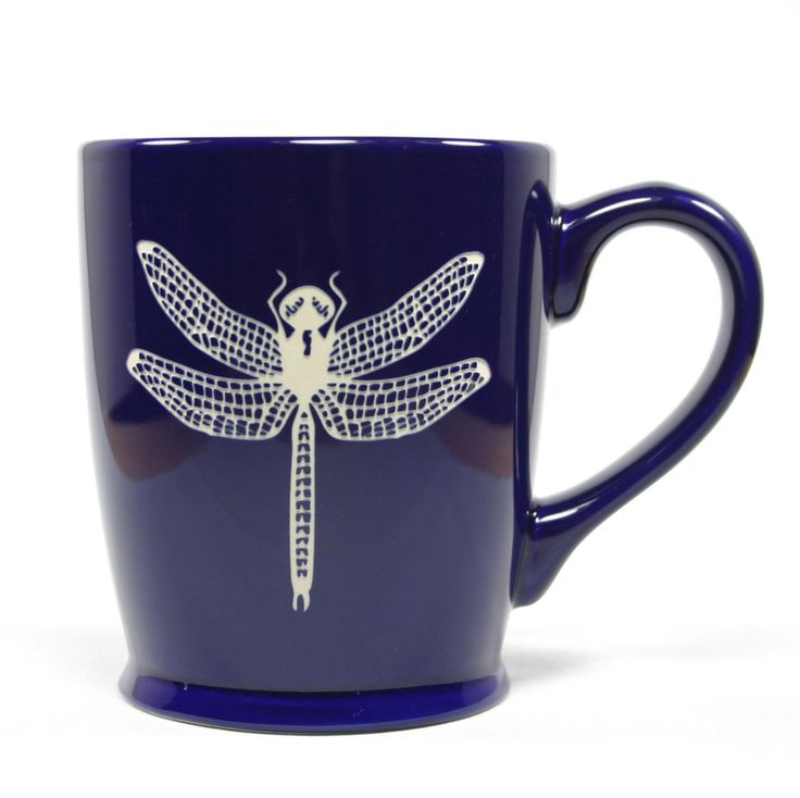 Dragonfly coffee mug in navy blue by Bread and Badger, Microwave-safe, Dishwasher-safe, sandblasted ceramic