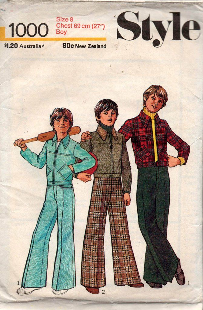 Style 1000 Boys Bomber Jacket Flares 70s Vintage Sewing Pattern Size 8 Sewing Pattern Sizes Boys Bomber Jacket Vintage Kids Clothes