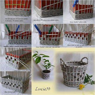 Door middel van de fotocel: Krant van geweven manden, dozen ...