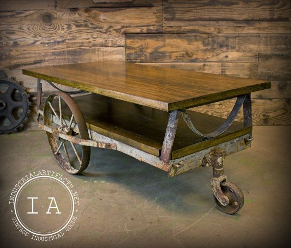 vintage industrial janesway rumble factory cart railroad cart coffee table cast iron wheels. Black Bedroom Furniture Sets. Home Design Ideas