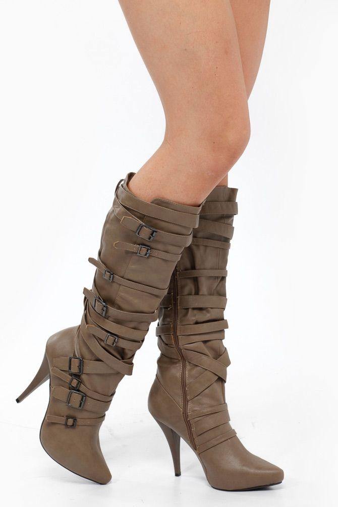 Knee High Multi Buckle High Heel Boots...Jet Black or Deep Chocolate